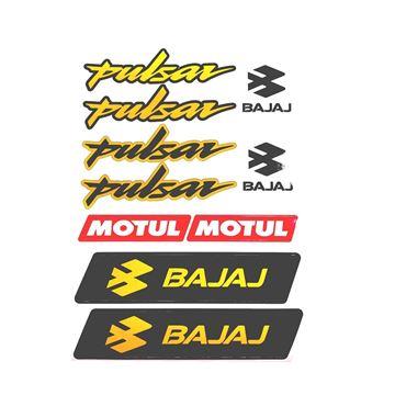 Bajaj Pulsar Sticker (Etiket) Seti Sarı A4 Boyut Resimi