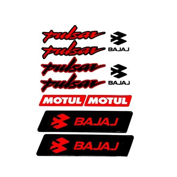 Bajaj Pulsar Sticker (Etiket) Seti Kırmızı A4 Boyut Resimi